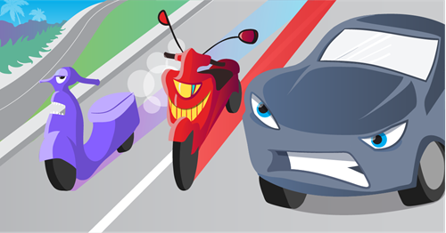 An angry looking car appearing squished next to a motorcycle and moped.