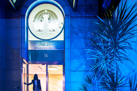 The Argus Building turns blue for diabetes awareness
